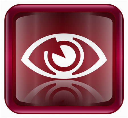 clearer: eye icon, red, isolated on white background Stock Photo
