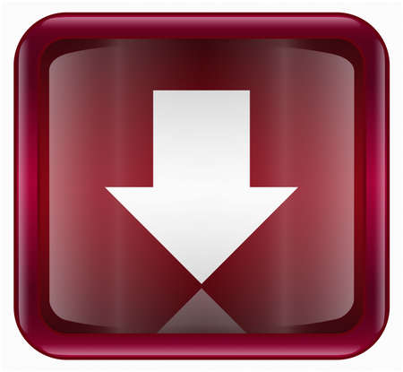 upward movements: Arrow down icon red, isolated on white background