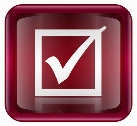 check icon: comprobar icono rojo, aislado en fondo blanco  Foto de archivo