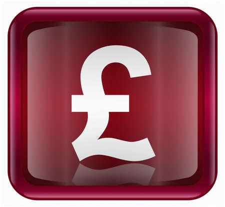 pound: Pound icon red, isolated on white background