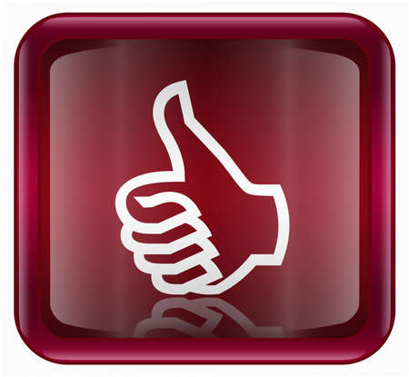 acknowledge: thumb up icon, approval Hand Gesture red, isolated on white background