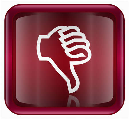 not ready: thumb down icon red, isolated on white background