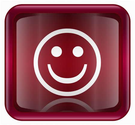 amabilidad: Cara sonriente de color rojo, sobre fondo blanco aisladas
