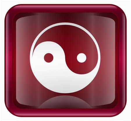 yin yang symbol icon red, isolated on white background photo