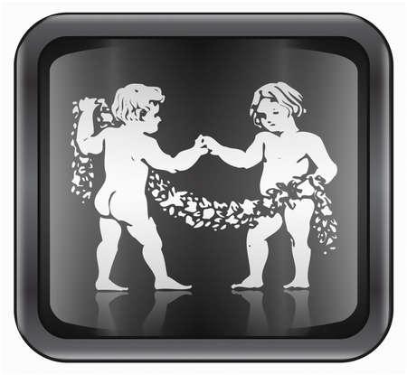 Gemini zodiac icon, isolated on white background photo