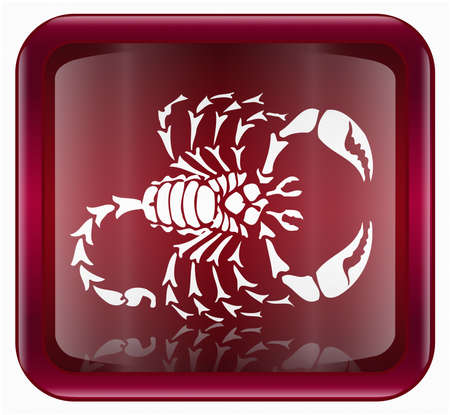 scorpio: Scorpio zodiac icon red, isolated on white background