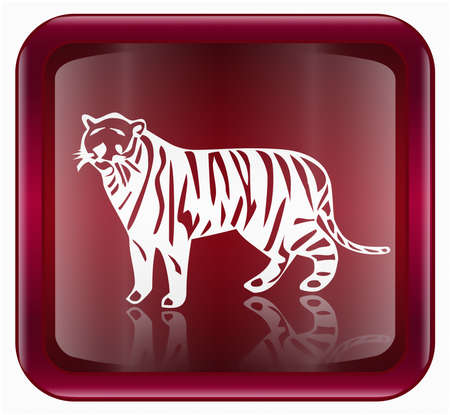 Tiger Zodiac icon red, isolated on white background. photo
