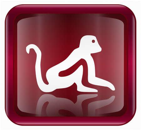 Monkey Zodiac icon red, isolated on white background.