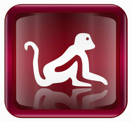 fortunetelling: Monkey Zodiac icon red, isolated on white background.