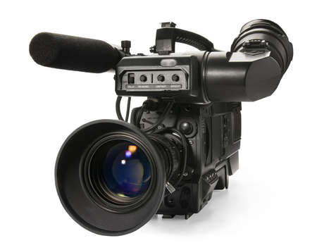 Profesional cámara de vídeo digital, aisladas sobre fondo blanco.