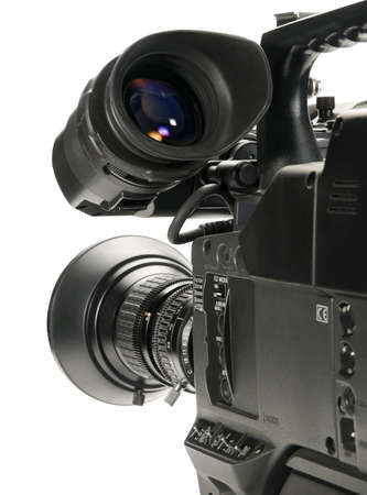 customer records: Professional digital video camera, isolated on white background.