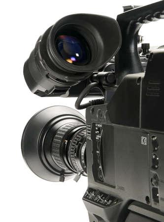 videofilm: Professionelle digitale Videokamera, isoliert auf wei�em Hintergrund.