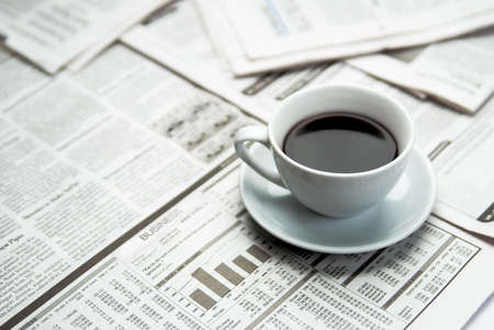 exceeds: Coffee newspaper, business Stock Photo