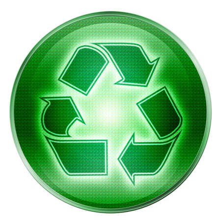 wastes: Recycling symbol icon green, isolated on white background. Stock Photo