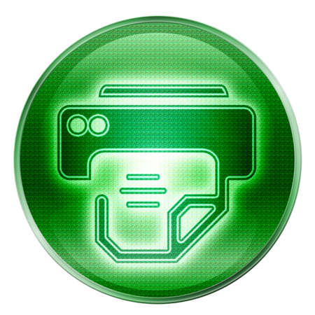 printer icon green, isolated on white background. photo