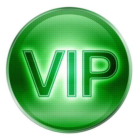 VIP icon green, isolated on white background. Stock Photo - 2455536