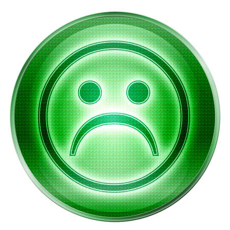 affliction: Smiley Face, dissatisfied green, isolated on white background. Stock Photo