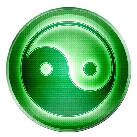 yin yang symbol icon green, isolated on white background. photo