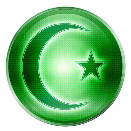 moon and star icon green, isolated on white background. photo
