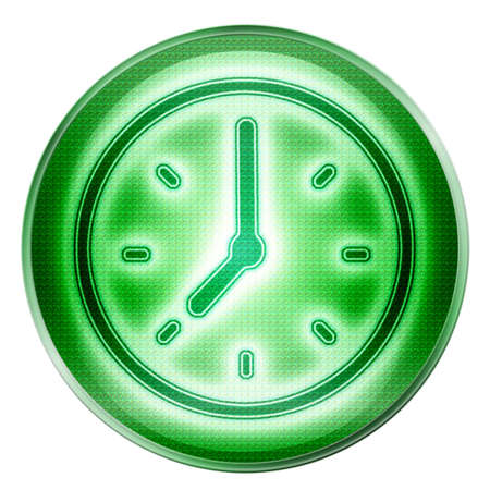 chronograph: clock icon green, isolated on white background.