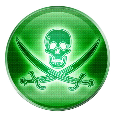 Pirate icon green, isolated on white background. Stock Photo - 2459363