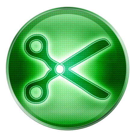 scissors icon green, isolated on white background.