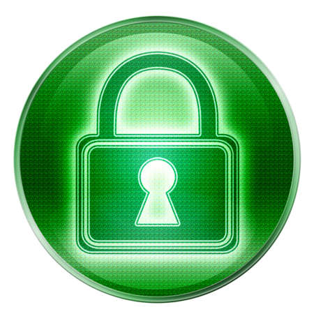 Lock icon green, isolated on white background. photo