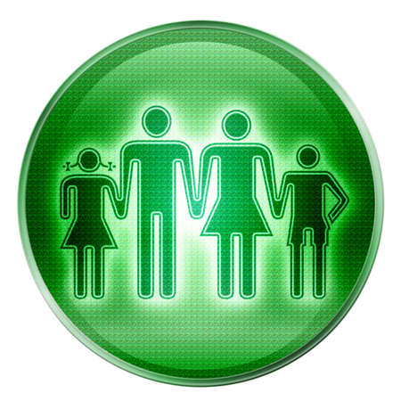 watercloset: people icon green, isolated on white background.
