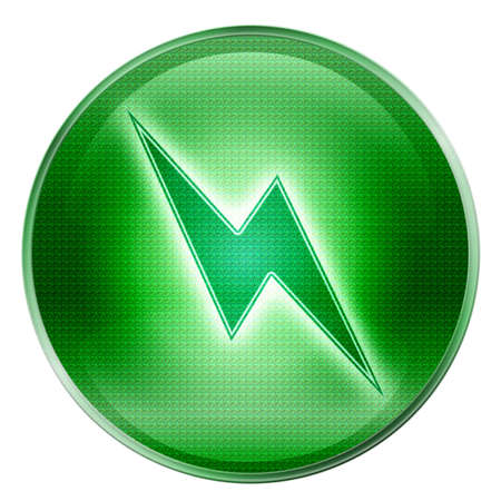 Lightning icon green, isolated on white background. photo