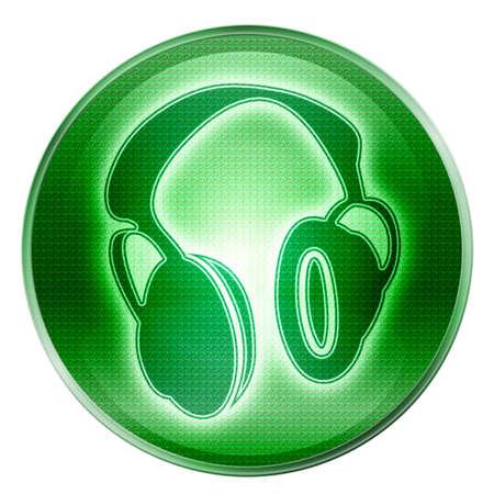 headphones icon green, isolated on white background. photo