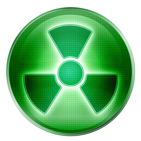 infectious waste: Radioactive icon green, isolated on white background.