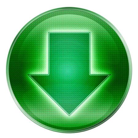 freccia giù: Arrow down icona verde, isolata su sfondo bianco.