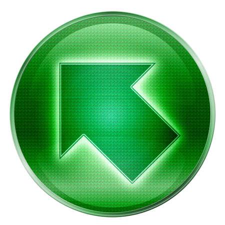 upward movements: Arrow icon green, isolated on white background.
