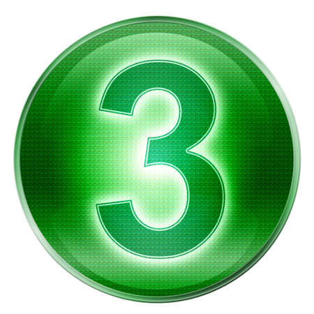 number three icon green, isolated on white background. photo