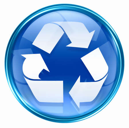 wastes: Recycling symbol icon blue, isolated on white background.