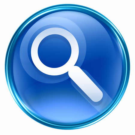 clearer: search and magnifier icon blue, isolated on white background.