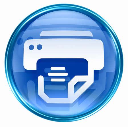 photo hardware: printer icon blue, isolated on white background.