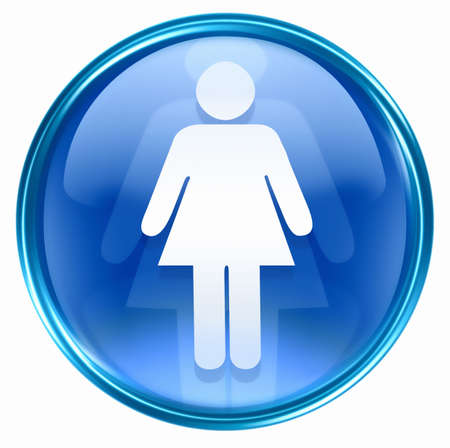 watercloset: woman icon blue, isolated on white background.