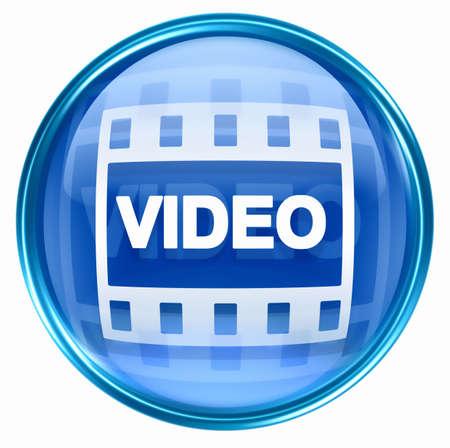 rec: Film icon blue, isolated on white background.