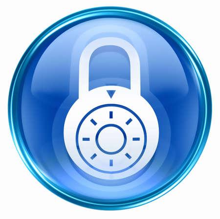 Lock off, icon blue, isolated on white background. Stock Photo - 2854931