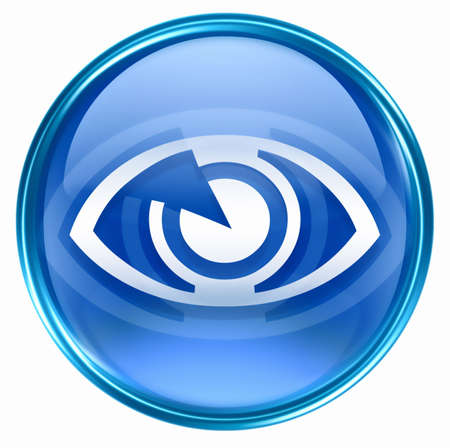 icons site search: eye icon blue, isolated on white background.