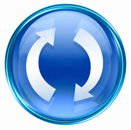 refresh icon blue, isolated on white background. Stock Photo