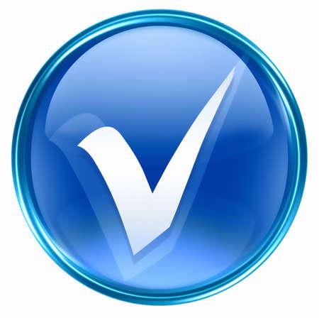 check icon: compruebe el azul del icono, aislado en el fondo blanco. Foto de archivo
