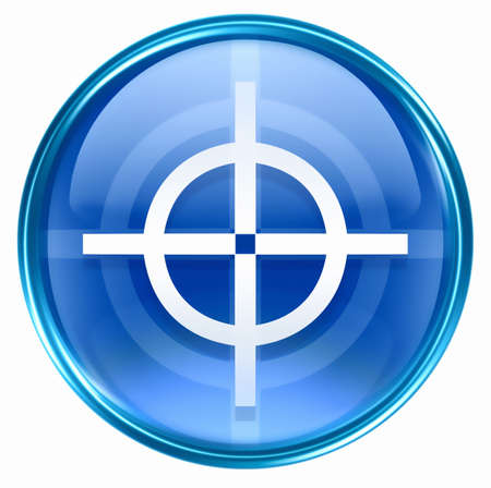 target icon blue, isolated on white background. photo