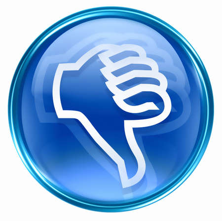 ineffective: thumb down icon blue, isolated on white background.