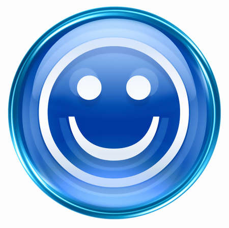 amabilidad: Cara sonriente de color azul, aislado en fondo blanco.