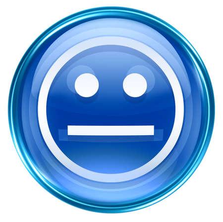 Smiley Face blue, isolated on white background. photo