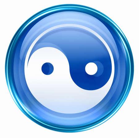 yin yang symbol icon blue, isolated on white background. Stock Photo - 2875257