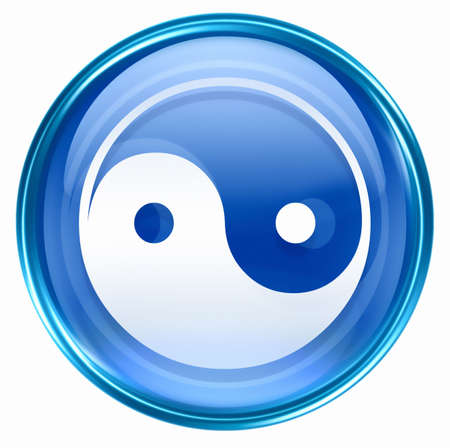 yin yang symbol icon blue, isolated on white background. photo