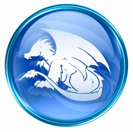 dragon calligraphy: Dragon Zodiac icon blue, isolated on white background. Stock Photo